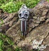 Real Bullet Design Key Chain Brain and Skull 5.56NATO Silver Edition